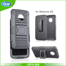 New arrival 3 in 1 hybrid belt clip holster combo case for moto G5 with kickstand