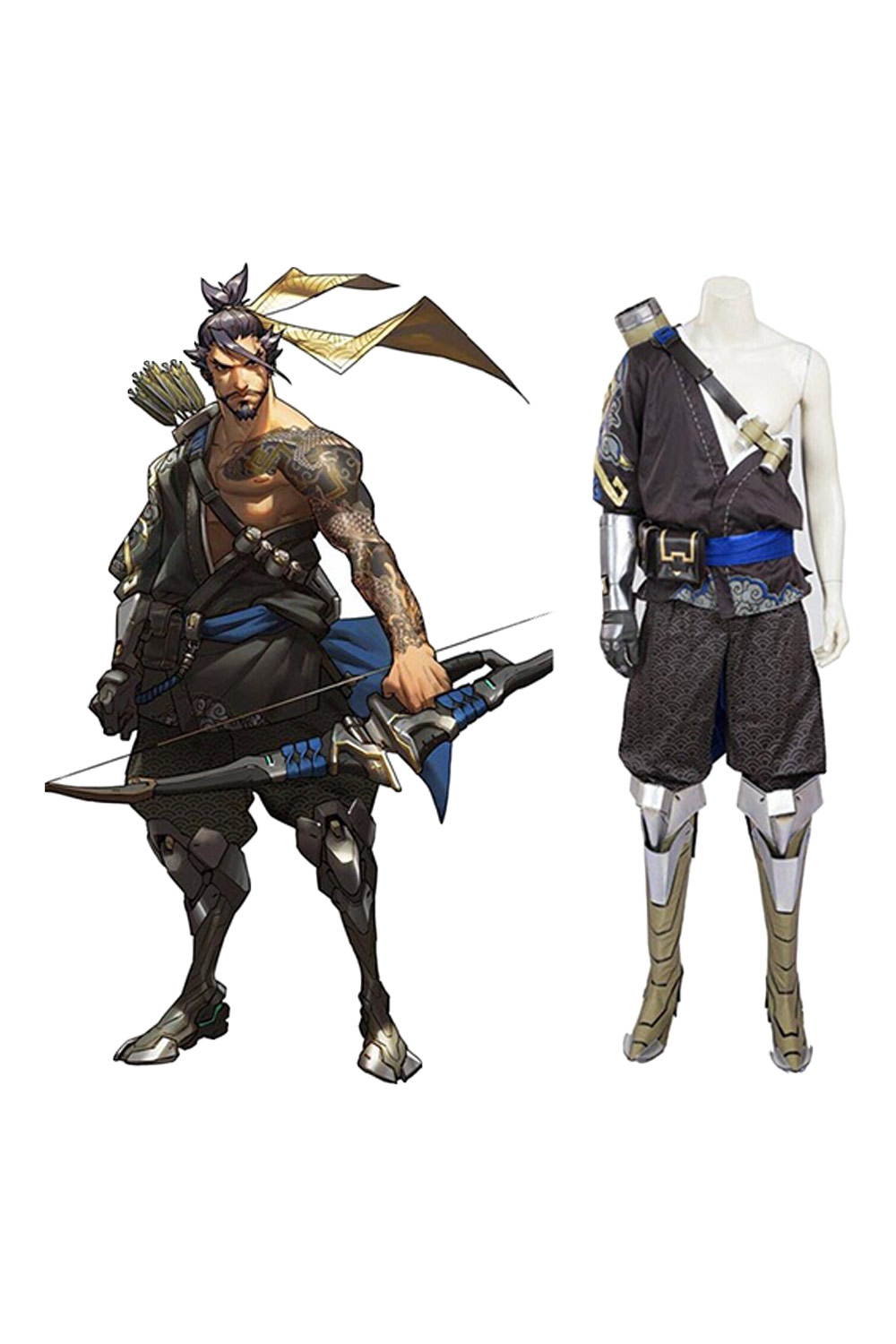 Hot Game Young Hanzo Cosplay Costume Full Sets Custom Made Free Shipping