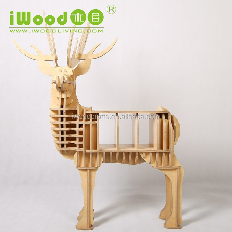Euro style deer shape wood ornaments for furniture