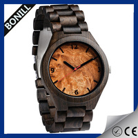 New Fashion wooden dial simple Bamboo printed logo men's wholesale Classic beand watch