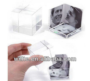 Customized design acrylic photo cube block box