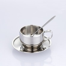customized double wall stainless steel coffee cup and saucer sets wholesale tea cup with spoon and coaster