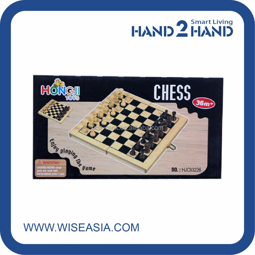 Traditional chess game set with collapsible foldable wooden box
