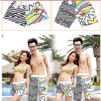 OEM printed own design fashion style sexy swimwear lovers' clothes