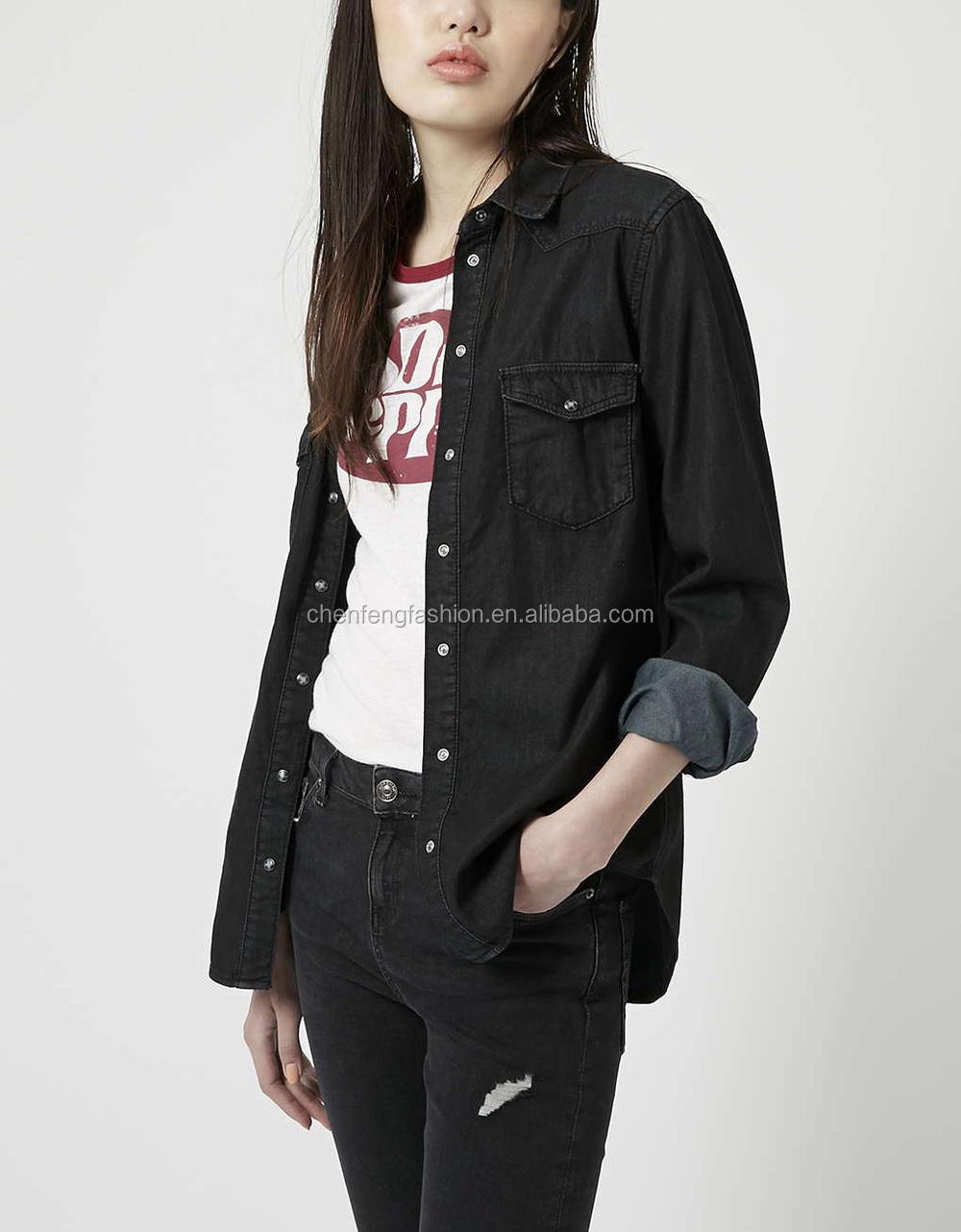Womens Black Cotton Denim Fitted Western Shirt - Buy Black Denim ...
