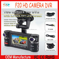 2.7inch Allwinner Chip Dual lens vehicle Camera +SOS Button+Motion Detection+Night Vision Car DVR F20 Car Camera gs8000l stayle