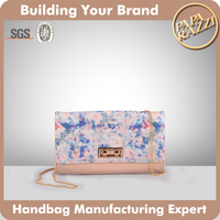 M1-2016 New Arrival Candy Color Ladies Leather Cultch with Gold Chain Pattern Printed Clutches and Purses