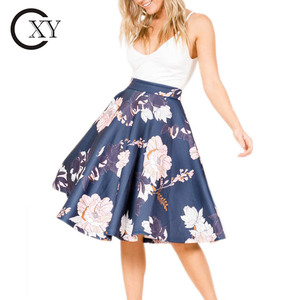 Custom Women Elegant Navy Floral Midi Skirts