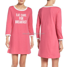 ladies sleepwear Nightwear Women Comfy Cotton Blend Crewneck Three-quarter Sleeves sleep shirt nightshirt cotton dress