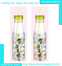 BPA Free Double Wall Colored Sport Drinking fda approved plastic bottle with straw