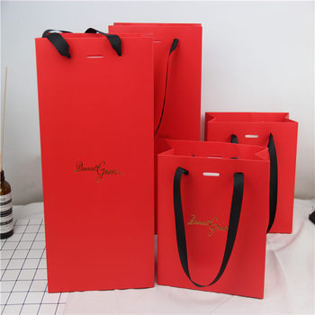 Luxury red paper gift jewelry packaging bag with gold hot stamping logo