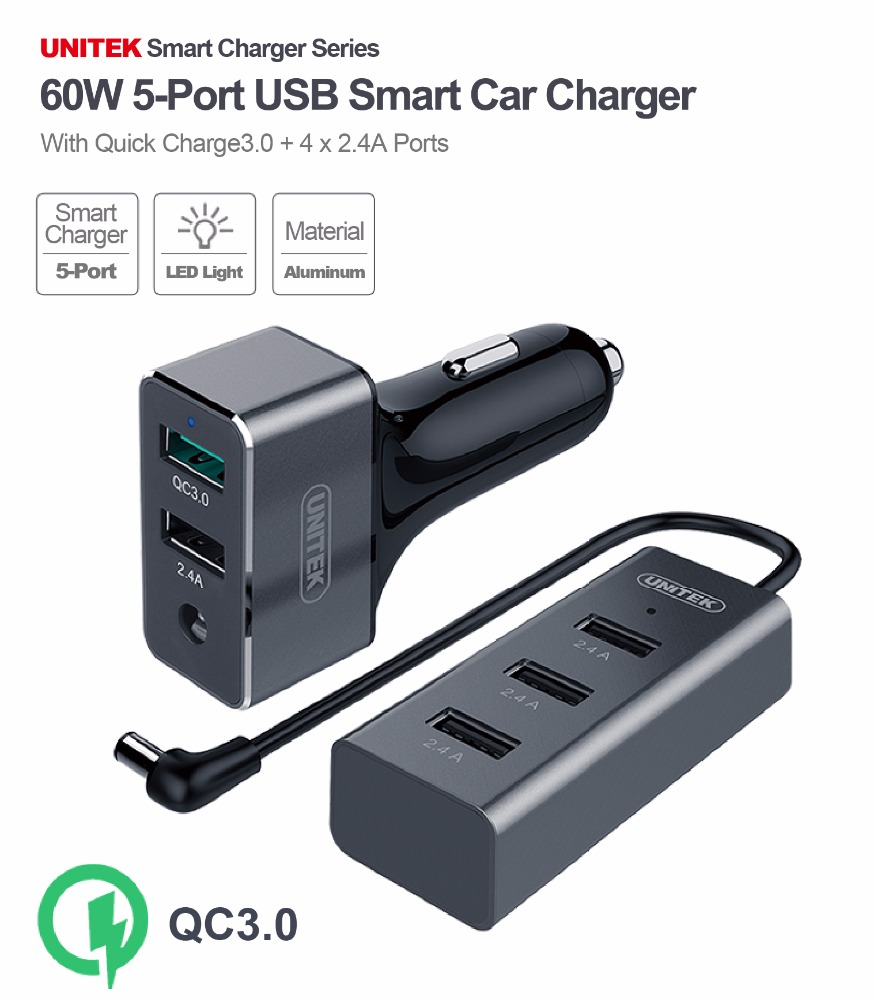 UNITEK 60W 5 Port USB Quick Charge 3.0 Car Charger (1-Port QC3.0 + 4-Port 2.4A), w/ Aluminum case, Quick Charge 2.0 Compatible