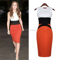 7335 vintage style Women Celebrity dresses Midi Bodycon Red Pencil evening Slimming Panel Tea elegant dress to the knee 19376
