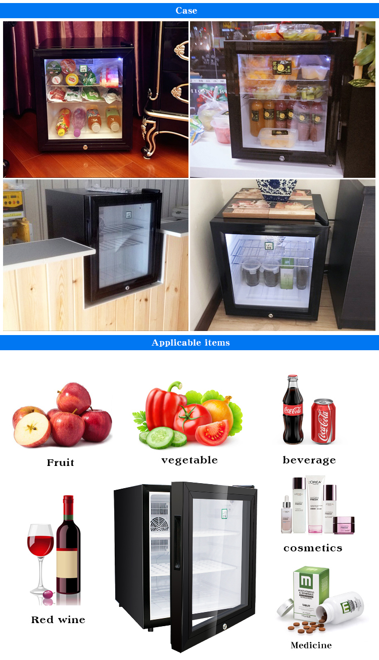 LVNI hot sale commercial electric no noise 42L mini bar fridge refrigerator showcase for hotel room