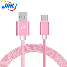 Pink Type C Cable Nylon Braided For Mobile Phones