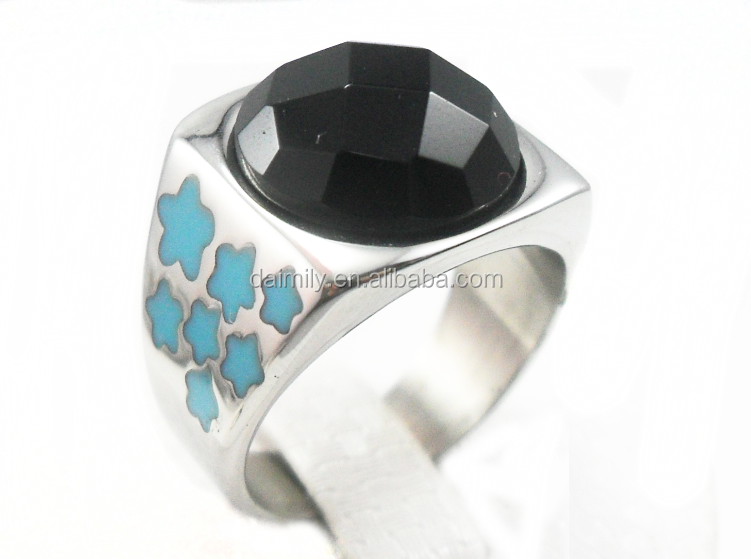 Guangzhou Daimily Wholesale Stainless Steel Jewelry Rings Jewelry Star Ring Black Stone Ring With Stars On Sides