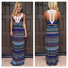 Wholesale high fashion printed womens dresses maxi design long dresses