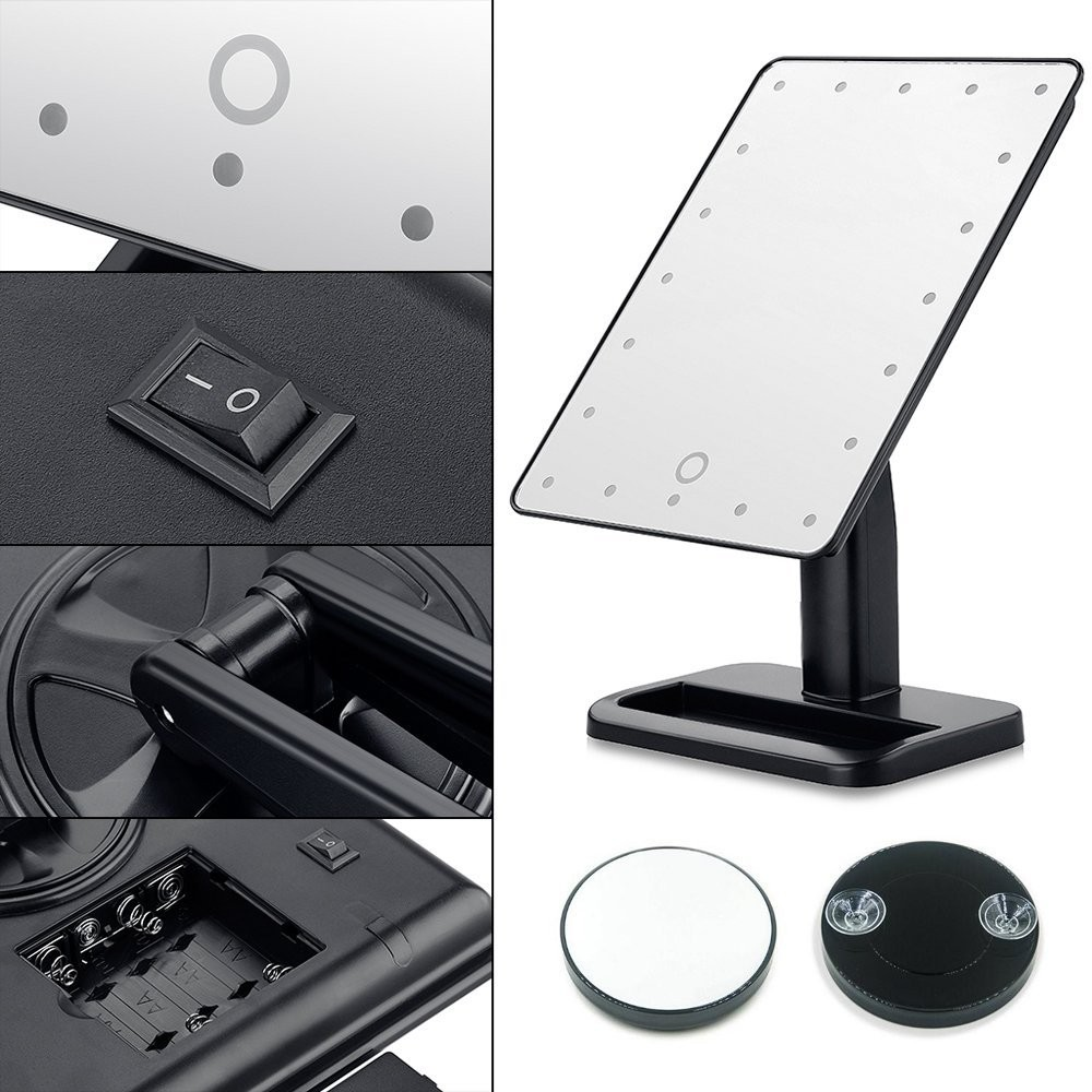 ressan fm20 20led vanity mirror touch control square stand. Black Bedroom Furniture Sets. Home Design Ideas