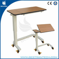 China BT-AT007 hospital furniture, medical mobile adjustable tilt top over bed table