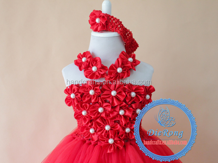 Red flower baby girl smocked tutu dress handmade christening gowns for girls