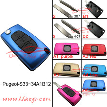 Novelty color blank key manufacturer 3 Buttons remote key shell for Peugeot cars