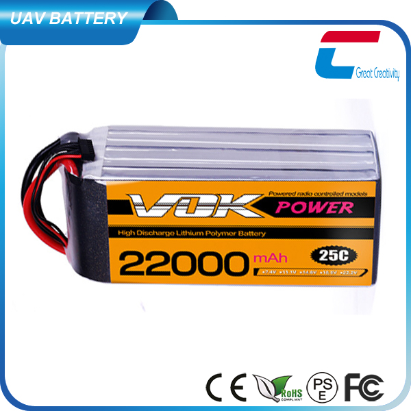 High Performance 11.1V 25C 22000mAh 3 Cell Lithium Polymer Battery