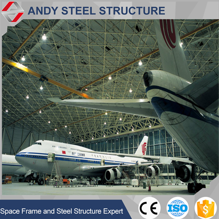 Metal frame steel truss roofing for airplane hangar design for sale