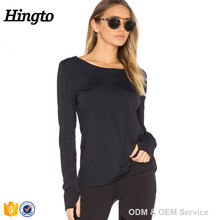 2017 long sleeve fitness & yoga wear fashion scoop neck modal fitness clothes tee shirts for women