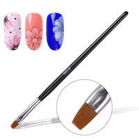 Hot Manicure Nail Art Tool Powder Dust Clean Pen Edge Cuticle Cleaning Black Handle NO 8 Flat Gel Nail Brush