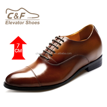 CF 2017 New Style Men's Genuine Leather Elevator Shoes For Men With 7.0 CM Taller