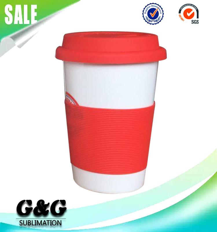 Silicone Wrap Plain White Coffee Cup Sublimation Mugs for Sale