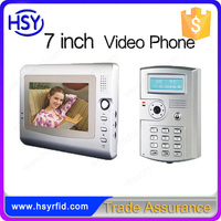 Night vision 2 meters automatic smart home system 7 inch wired hands free video door phone with keypad