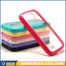 Candy color bumper frame transparent back hard case for samsung galaxy s4 mini