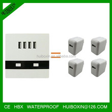4 USB ports electric wall socket adapter with LED light for USB charging
