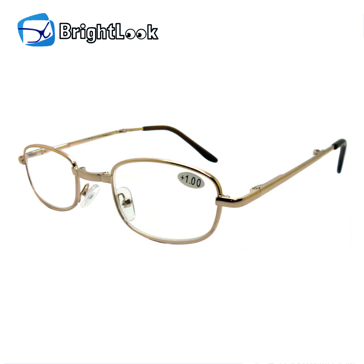 Latest fashion new vintage style man women metal full frame adjustable very small folding reading glasses eyewear