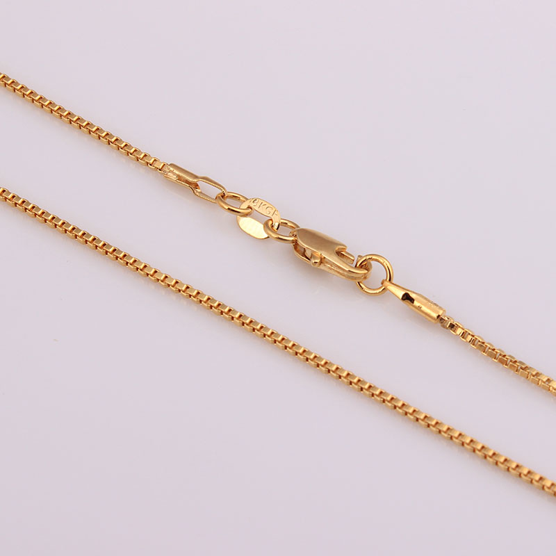 wholesale 16-30inch long gold plated box chain necklace