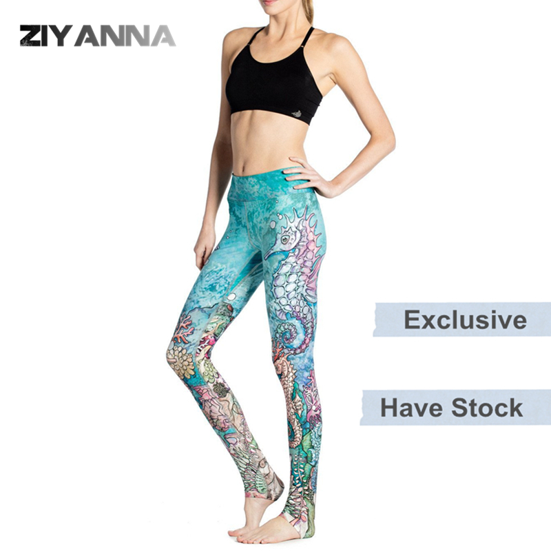 (Factory OEM/ODM/stock)New style quick dry thin nylon spandex runner sports gym seamless <strong>custom</strong> tight woman printed yoga pants