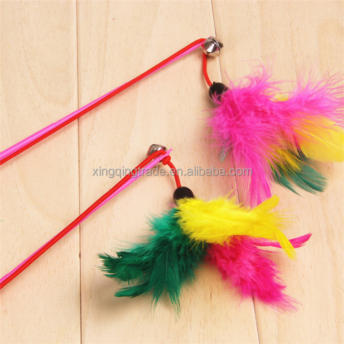 Pet cat toy Cute Design bird Feather Teaser Wand Plastic Toy for cats Color Multi Products For pet With Bell Beads