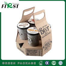 High level OEM production kraft paper six beer bottle holder/China factory supply beer carton drinks carton 6 pack beer carrier
