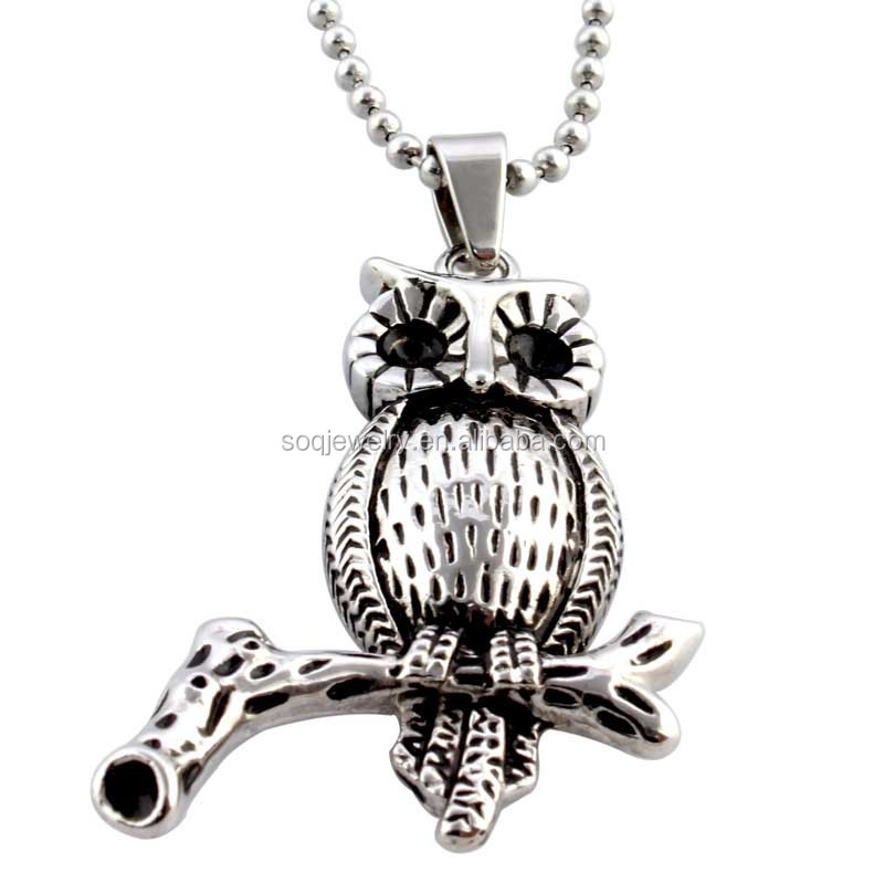Wholesale Alibaba Owl Charms Stainless Steel Men's Vintage Pendant with Black Effect