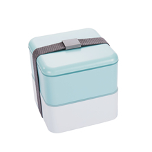 Wholesale japanese double layer square leak proof bpa free Microwavable recycled bento plastic lunch box with elastic band