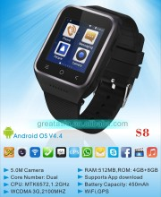 New arrival S8 Android 4.4 OS Smart Watch 3G Smart Watch