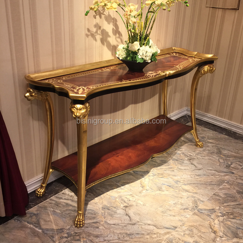 Royal Victorian Style Luxury Gilding Edged and Carving Console Table with Exquisite Boulle Work Top BF12-08314b
