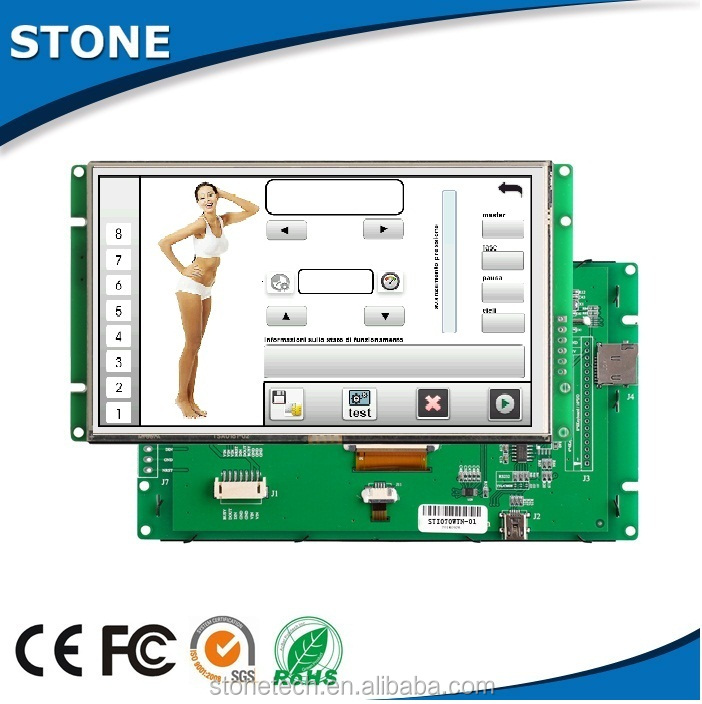 Embedded 7 inch instruction electronic color display module+TFT+Mother Board with CPU/driver,support RS232/RS485/TTL port
