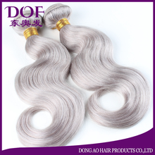 Malaysian silver 1b/grey color human remy hair weft natural wave hair extensions for sale