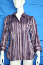 Yarn dyed stripes woven blouse for middle aged women