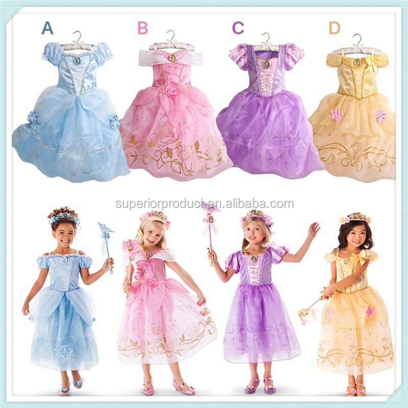 New Girls Cinderella Dresses Children Snow White Princess Dresses Rapunzel Aurora Kids Party Costume Clothes