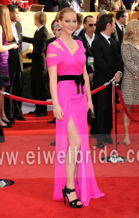 S1116 Beautiful Ruffle Split Leg Chiffon Celebrity Inspired <strong>Dress</strong>