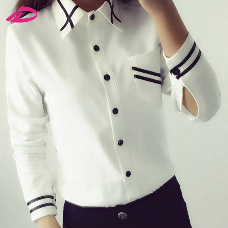 Autumn Long Sleeve Chiffon Ladies Office Shirt White Blue Tops
