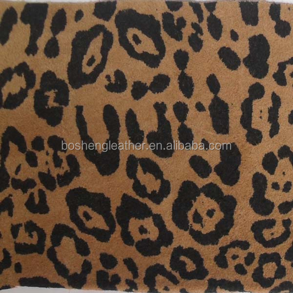 LEOPARD PRINT GENUINE LEATHER SHOE AND BAG UPPER LEATHER